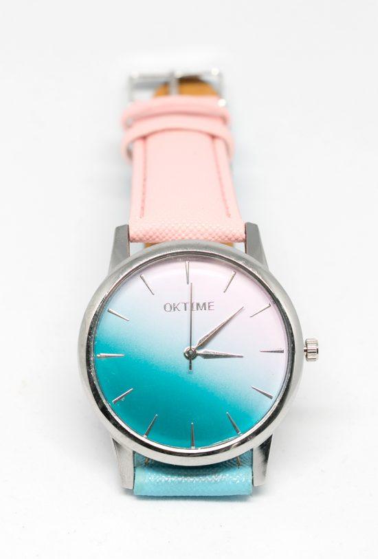 Reloj degradado azul y rosa