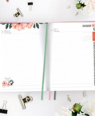 interior agenda diseño flores acuarela rosa