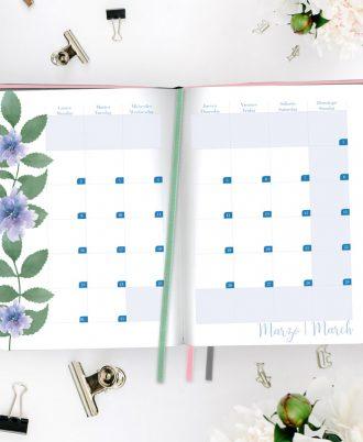 calendario agenda diseño flores acuarela azul