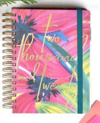 portada agenda 2020 acuarela flores rosa
