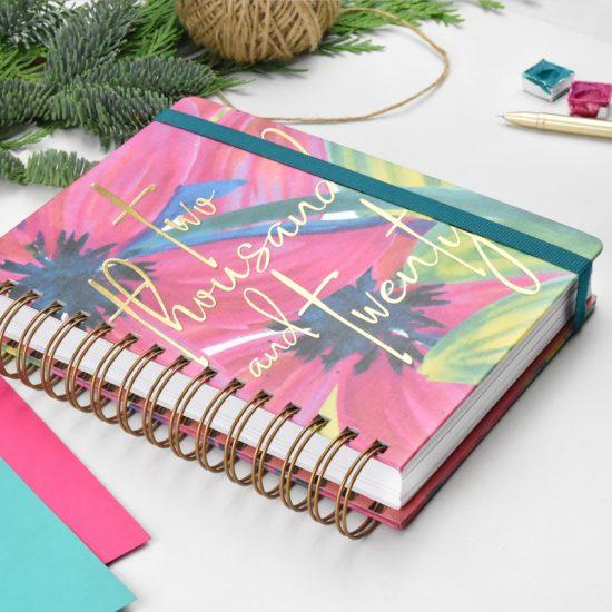 goma agenda 2020 acuarela neon flores rosa
