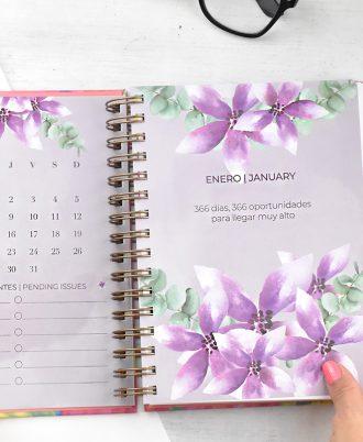 agenda 2020 acuarela lila flores