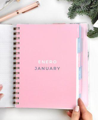 enero agenda 2020 marmol flechas turquesa rosas