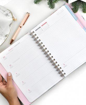 semana vista agenda 2020 marmol flechas turquesa rosas