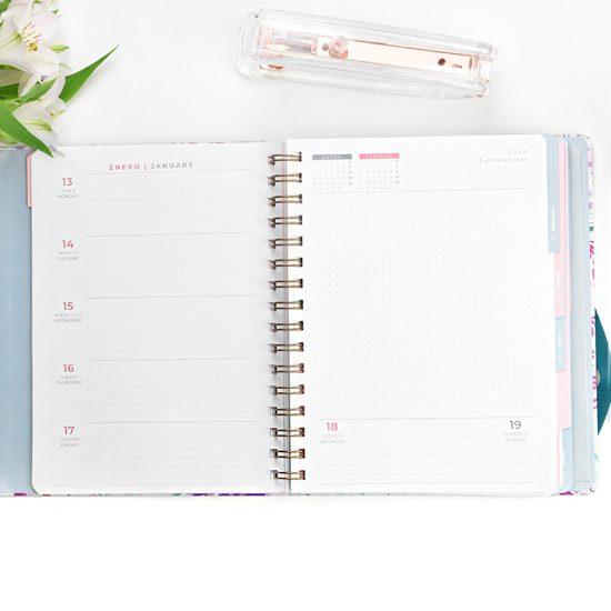 Agenda 2020 Glitter flower Día por página