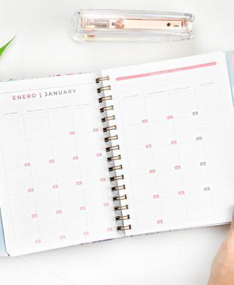 calendario agenda 2020 relieve flores oro
