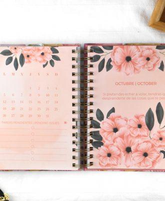 agenda 2020 diseño floral rosa