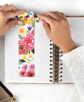 marcapaginas agenda 2020 diseño flores
