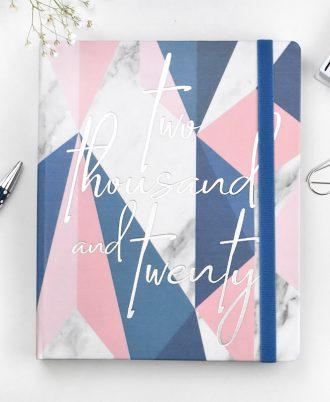 agenda 2020 geometrica azul blanco rosa