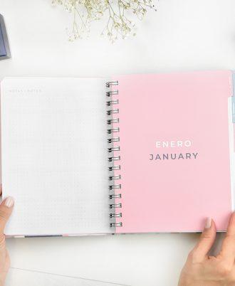 enero agenda 2020 geometrica azul blanco rosa