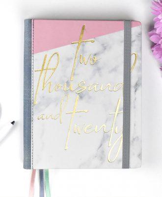 portada agenda 2020 mármol blanco y rosa