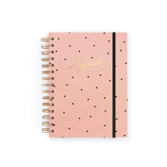 portada agenda rosa con puntos dorados y goma charuca