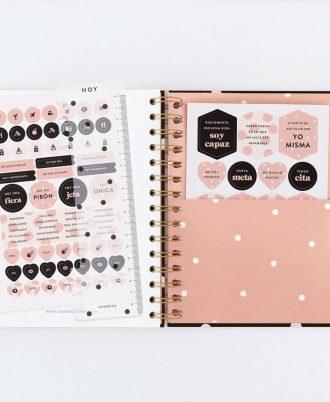 pegatinas agenda negra puntos blancos diseño