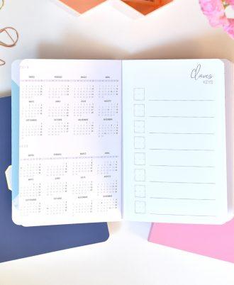 calendario bullet journal puntos mármol rosa