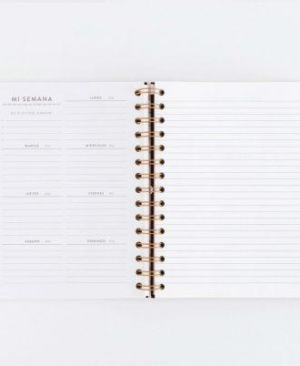 semana vista agenda negra lunares blancos diseño