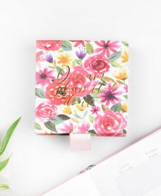diseño libreta cuadrada notas flores