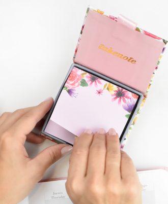 libreta cuadrada notas flores