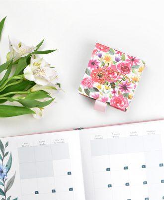 organizacion libreta cuadrada notas flores