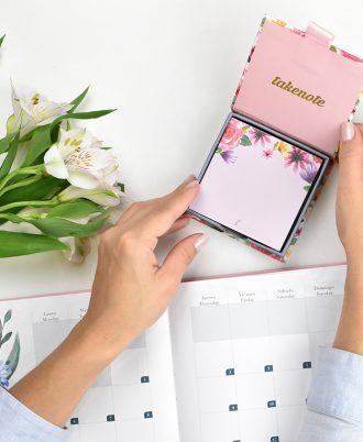 memo libreta cuadrada notas flores