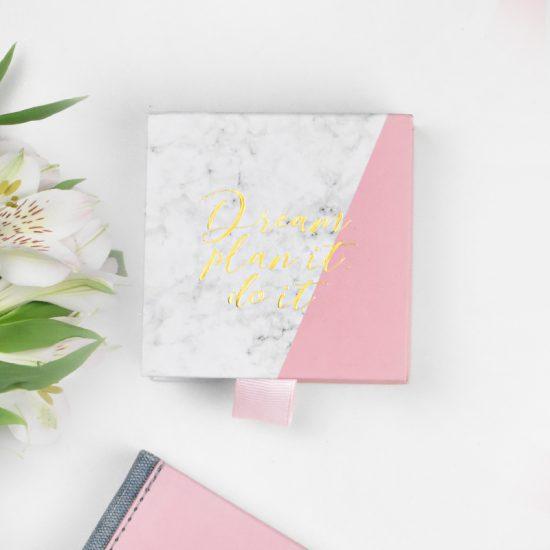 Taco Post it para tomar notas mármol blanco y rosa